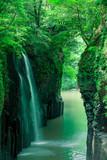 新緑の真名井の滝(宮崎県、高千穂、スローシャッター)