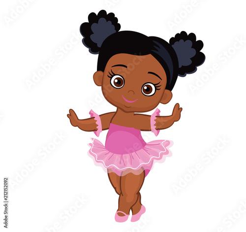 Fototapeta Vector cute little baby African American ballerina in  tutu dresses