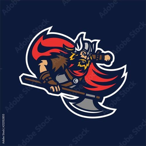 Photo  barbarian viking knight esport gaming mascot logo template