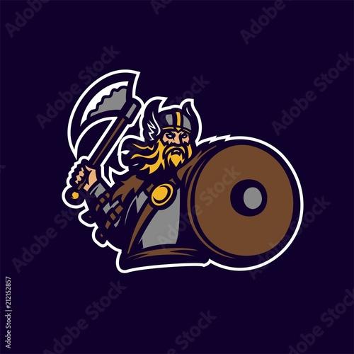 barbarian viking knight esport gaming mascot logo template Canvas Print