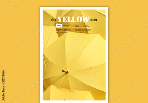 magazine cover layout with yellow accents adobe stock でこの