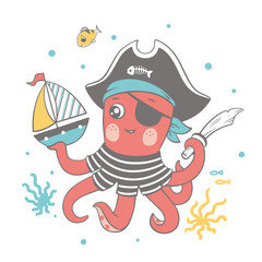 Fototapeta Vector illustration of a cute baby octopus in pirate costume playing with a toy ship.