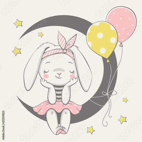 Fototapeta premium Ilustracja wektorowa cute girl króliczek marzy, siedząc na Księżycu.