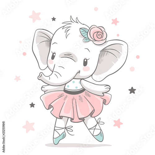 Vector illustration of a cute baby elephant ballerina in a pink tutu Tablou Canvas