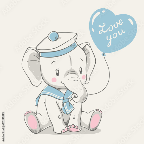 Fototapeta premium Ilustracja wektorowa słoniątka cute baby w stroju marynarza, siedząc i trzymając balon w bagażniku.
