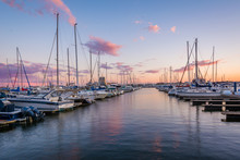 Sunset Over A Marina In Canton...