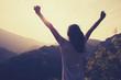 Leinwanddruck Bild - happy woman enjoying the view on morning mountain valley