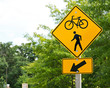 canvas print picture - Bike and walking trail yellow traffic sign