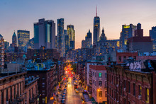 View Of Madison Street And Lower Manhattan At Sunset From The Manhattan Bridge In New York City