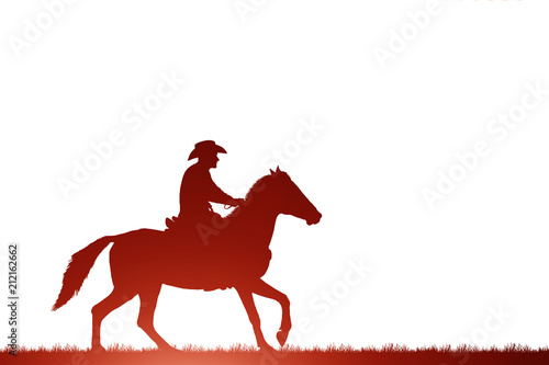 silhouette cowboy riding horse on white background Poster