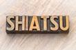 shiatsu - word asbtract in wood type