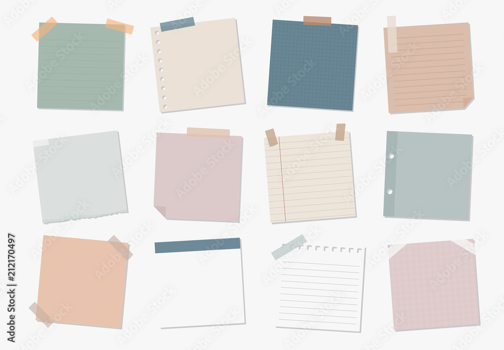 Fototapeta Collection of sticky note illustrations