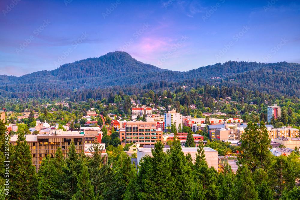 Fototapety, obrazy: Eugene, Oregon, USA Skyline