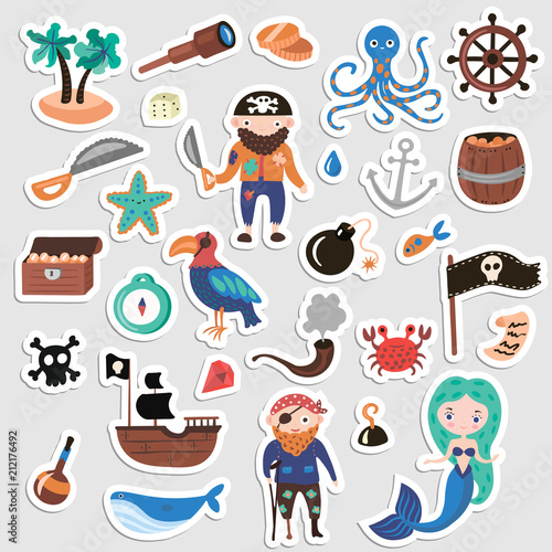 Set of Pirates vector cartoon stickers Canvas Print
