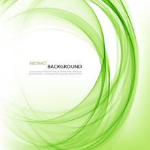 Abstract Vector Background Round Green Wavy Circle Shape Lines