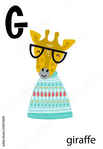 plakat-z-zyrafa-w-swetrze-i-okularach-oraz-literka-g