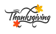 Shiny Yellow And Orange Maple Leaves Decorated Stylish Black Text Happy Thanksgiving Day. Poster Or Banner Design.