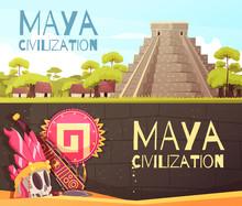 Maya Cartoon Banners Set