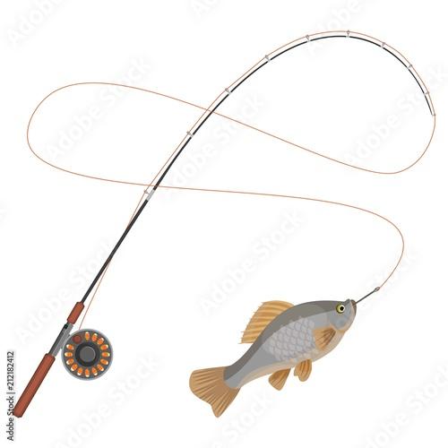 Cuadros en Lienzo Fishing rod with caught limbless animal vector illustration