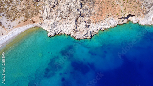 Printed kitchen splashbacks Australia Aerial birds eye view photo taken by drone of famous tropical rocky beach of Nannou with yachts docked and clear turquoise waters, Symi island, Dodecanese, Greece