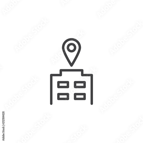 Fotografia Office building and map pin outline icon