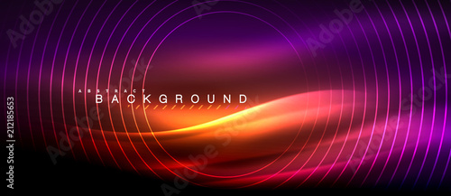 Obraz Neon glowing lines, magic energy space light concept, abstract background wallpaper design - fototapety do salonu