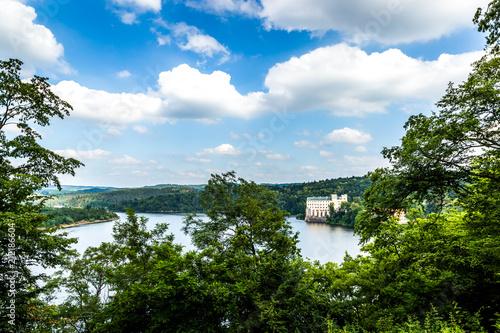 Orlik castle with blue sky and trees-Orlik nad Vltavou South Bohemia, Czech Repu Poster