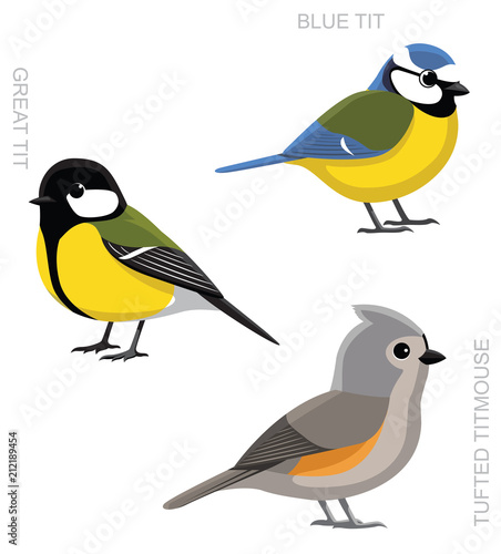 Bird Tit Set Cartoon Vector Illustration Fototapeta