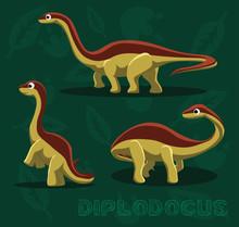 Dinosaur Diplodocus Cartoon Ve...