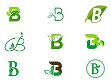 Leaf Initials B Logo Set, Natural Green Leaf Symbol, Initials B Icon Design