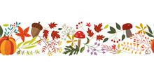 Autumn Horizontal Banner With Fall Colorful Plants And Leaves Isolated On White Background - Natural Seasonal Decorative Element. Flat Vector Illustration Of Botanical Objects.