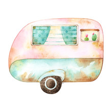 Watercolor Illustration Of A Cute Blue And Pink Retro Caravan With Two Windows Decorated With Polka Dot Curtains And Plants