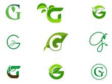 Leaf Initials G Logo Set, Natu...
