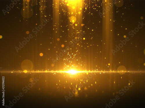 Photo  Golden bokeh glamour abstract background