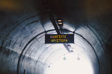 Tunnel Sign On The Road Greek Language