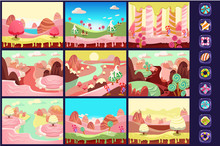 Collection Of Fairy Tale Landscapes, Sweet Candy Land, Details For Computers Game Interface Vector Illustrations