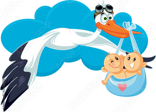Fototapeta Cartoon Stork with Twins Vector Illustration