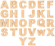 Set Of 3D Wooden English Alphabet Letters And Numbers From Zero To Nine Isolated On White Background