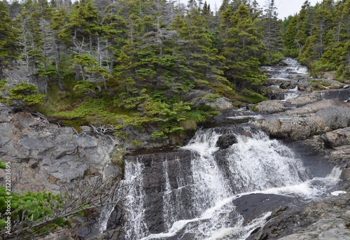 Keuken foto achterwand Watervallen Motion River cascade waterfall along the the Silver Mine Head Path within the East Coast trail system, on a foggy Summer day