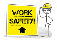 Work Safety - Safety And Health At Work Vector Illustration.