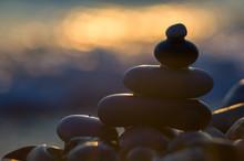 Stack Of Zen Stones On Pebble Beach