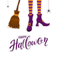 Happy Halloween With Witches L...