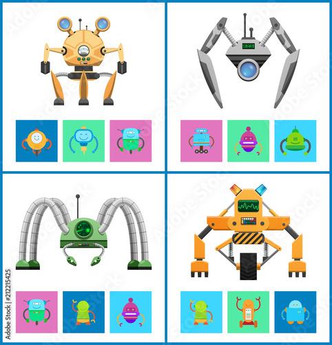 Droids Four Vector Illustrations, Colorful Posters Tableau sur Toile