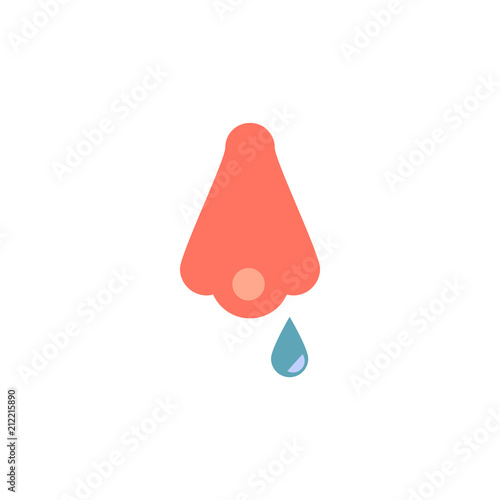 Fotografia, Obraz  Runny nose as symptom of cold and flu or allergy in flat vector illustration