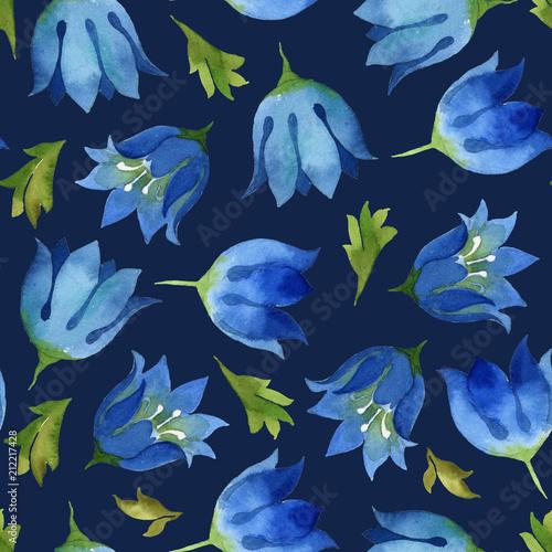 bezszwowy-wzor-blekitny-kwiatu-dzwon-z-zielenia-opuszcza-na-zmroku-bleki