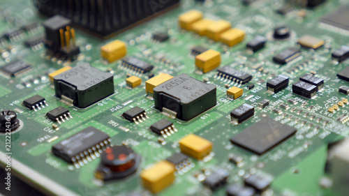 Papiers peints Pays d Asie Electronic printed circuit board with many electrical components