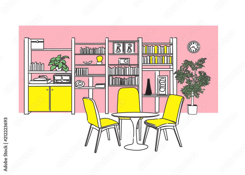Fototapeta interior design vector illustration. hand drawn furniture. pop art style living room illustration.