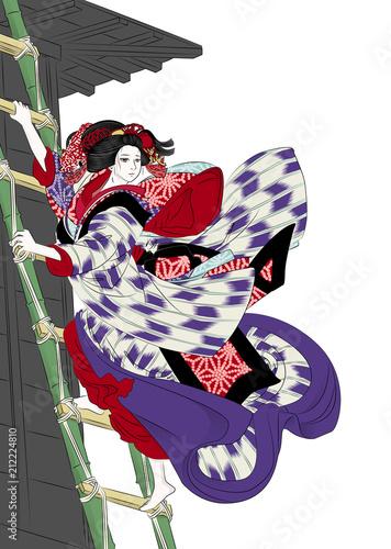 歌舞伎 櫓のお七 Canvas Print