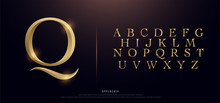 Set Of Elegant Gold Colored Metal Chrome Uppercase Alphabet Font. Typography Classic Style Golden Font Set For Logo, Poster, Invitation. Vector Illustration