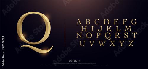 Set of Elegant Gold Colored Metal Chrome Uppercase Alphabet Font Tableau sur Toile
